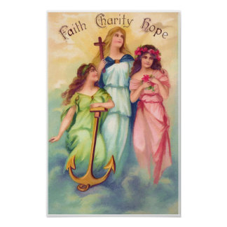 Impresión de la caridad de la esperanza de la fe posters
