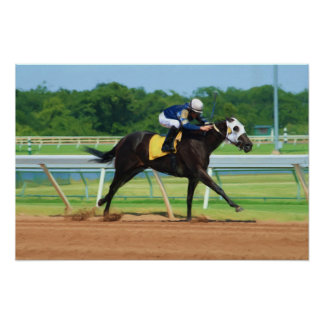 Impresión de la carrera de caballos póster