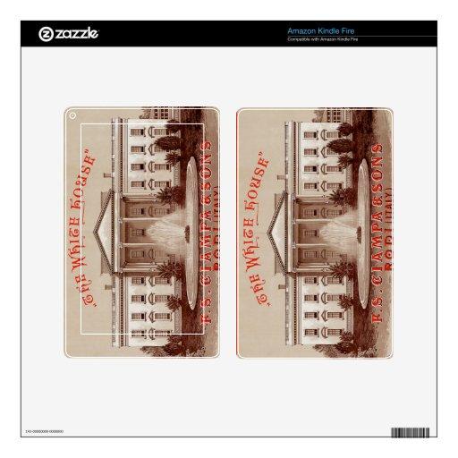Impresión de la Casa Blanca del vintage Pegatinas Skins Para Kindle Fire