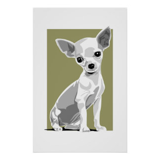 Impresión de la chihuahua con el fondo póster