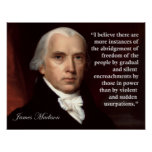 Impresión de la cita de la libertad de James Madis Póster