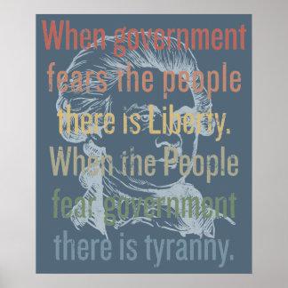 Impresión de la cita de la libertad de Jefferson Póster