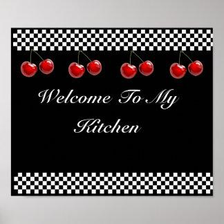 Impresión de la cocina de las cerezas del tablero  póster