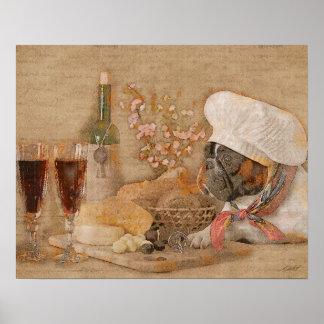Impresión de la cocina del cocinero del dogo póster