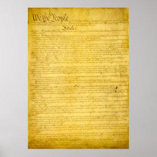 Impresión de la constitución de Estados Unidos Póster
