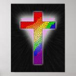 Impresión de la cruz del arco iris posters