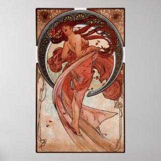 Impresión de la danza de Alphones Mucha del vintag Poster