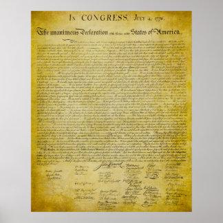 Impresión de la Declaración de Independencia Posters