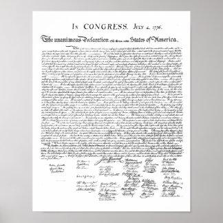 Impresión de la Declaración de Independencia Póster