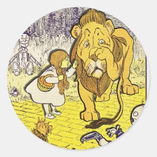 Impresión de la edición de mago de Oz del vintage Pegatina Redonda