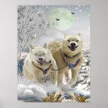 Impresión de la escena del invierno del husky sibe posters
