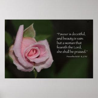 Impresión de la escritura del 31:30 de los proverb póster