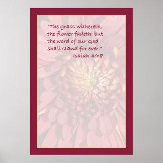Impresión de la escritura del 40:8 de Isaías