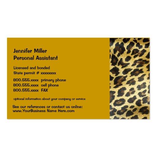 Impresión de la fauna del leopardo tarjetas de visita
