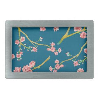 Impresión de la flor de cerezo de Sakura en azul Hebillas De Cinturon Rectangulares