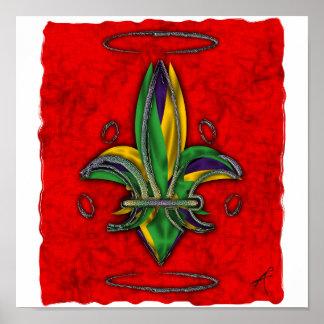 Impresión de la flor de lis póster