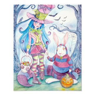 """Impresión de la foto de """"Alicia y del Halloween"""