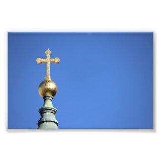 Impresión de la foto de la aguja de la iglesia cojinete