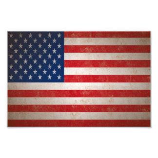 Impresión de la foto de la bandera americana del e