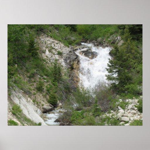 Impresión de la foto de la caída del agua póster