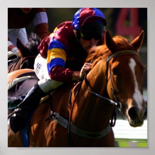 Impresión de la foto de la carrera de caballos póster