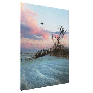 Impresión de la foto de la lona de la puesta del s lienzo envuelto para galerias