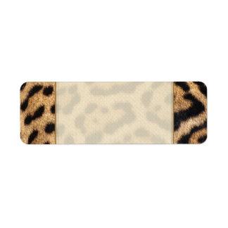 Impresión de la foto de la piel de Jaguar Etiquetas De Remite