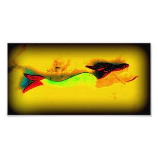 impresión de la foto de la sirena de la natación