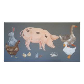Impresión de la foto de los animales del corral cojinete