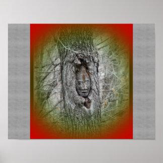Impresión de la foto del gnomo del árbol póster