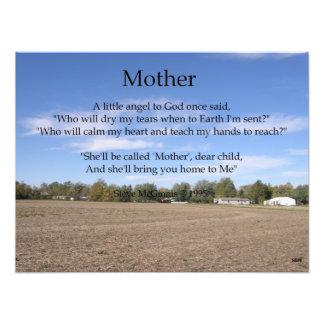 Impresión de la foto del poema de la madre cojinete