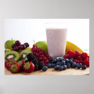 Impresión de la fruta y del Smoothie Póster