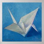 Impresión de la grúa de Origami Póster