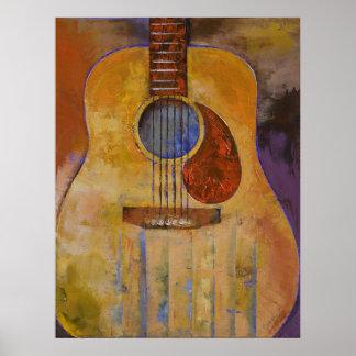 Impresión de la guitarra acústica póster