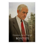 Impresión de la honradez de Ron Paul Poster