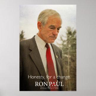 Impresión de la honradez de Ron Paul Póster