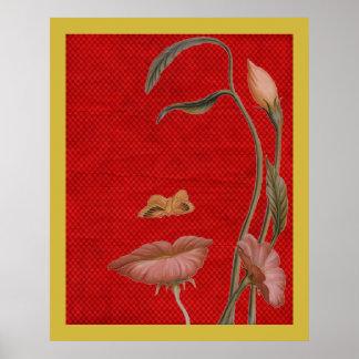 Impresión de la ilusión de la cara de la flor en l poster