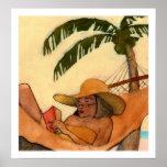 Impresión de la lectura de la playa poster