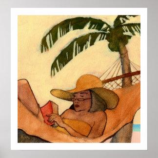Impresión de la lectura de la playa póster
