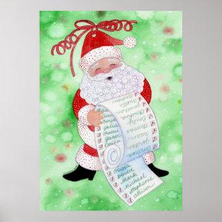 Impresión de la lista de Santa Poster