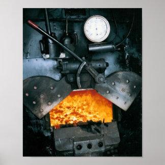 Impresión de la locomotora de vapor, más de alta c póster