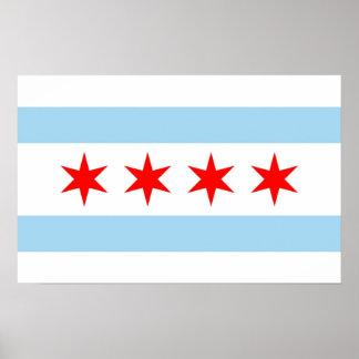 Impresión de la lona con la bandera de Chicago, Póster