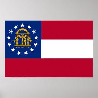 Impresión de la lona con la bandera de Georgia, Póster