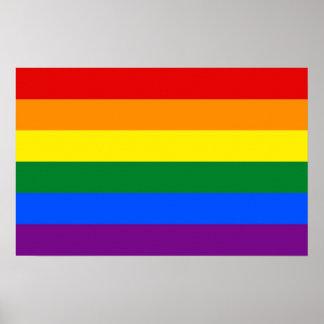 Impresión de la lona con la bandera del arco iris  póster