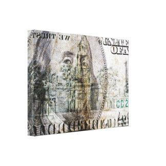 Impresión de la lona de 100 billetes de dólar (3) impresion de lienzo