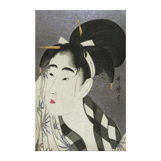 Impresión de la lona de Ase O Fuku Onna de Kitagaw Impresión En Tela