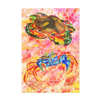Impresión de la lona de dos cangrejos lienzo envuelto para galerias