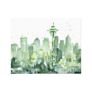 Impresión de la lona de la acuarela de Seattle Lona Envuelta Para Galerías