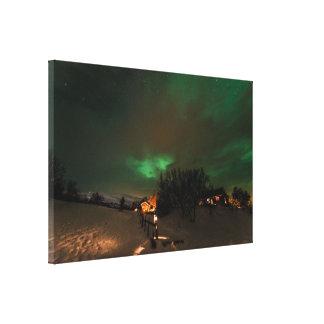 Impresión de la lona de la aurora boreal lienzo envuelto para galerías