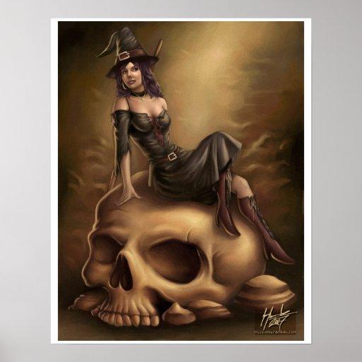 Impresión de la lona de la bruja de Halloween Póster